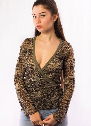 Блузка женская с глубоким вырезом хаки mexx (xs)