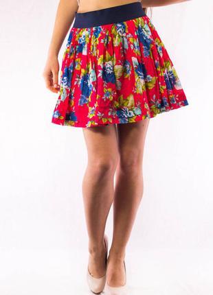 Юбка женская красная с цветками на резинке abercrombie & fitch (l)