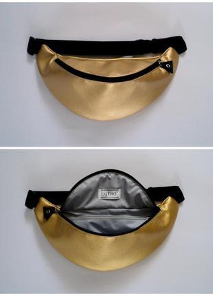Крутая золотая бананка поясная сумка из экокожи ручная работа