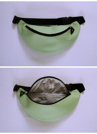 Мятная бананка поясная сумка из экокожи ручная работа