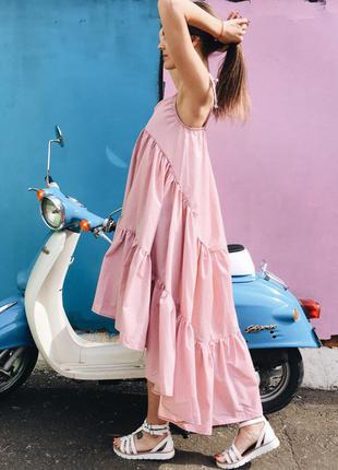 Самое модное платье шлейф оверсайз на завязках! пудра цвет розовый натуральный хлопок