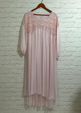 Шелковое платье с вышивкой в стиле бохо/бледно-розовый.( италия)