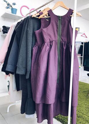 Модное женское платье сарафан на молнии сзади! котон рубашечный цвет слива фиолет