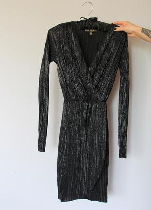 Платье чёрное серебристое мини вечернее коктейльное сукня плаття мини міні secret h&m zara