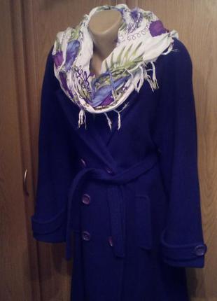 Теплое синее двубортное пальто 48 укр размер