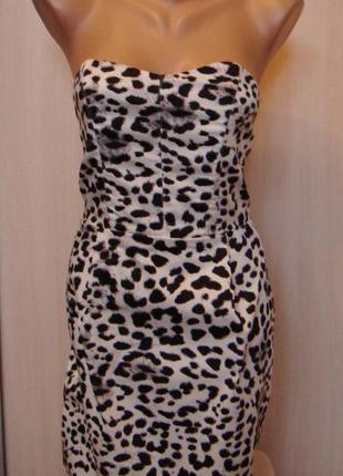 Новое леопардовое h&m коктельное платье бюстье размер хс
