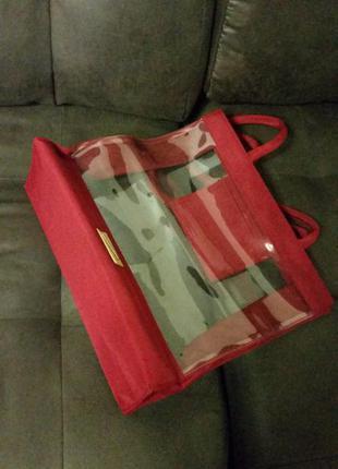 Большая силиконовая сумка champneys прозрачная марсала