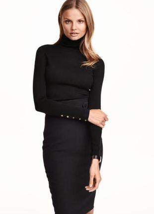 Тонкий гольф h&m чёрный серый водолазка свитер с горлом базовый гардероб кофта шерсть
