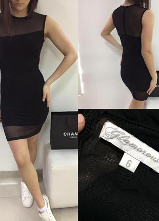 Шикарное черное платье облегающее с сеточкой glamorous asos