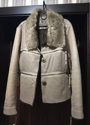 Пиджак дубленка автоледи пудровая, хl