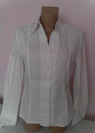 Белая хлопковая офисная блузка стретч