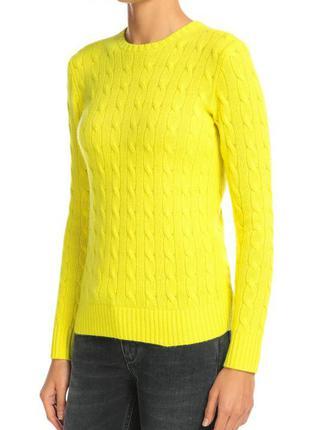 Кашемировый пуловер фактурной вязки с круглым вырезом ralph lauren р м(10-12) w6996