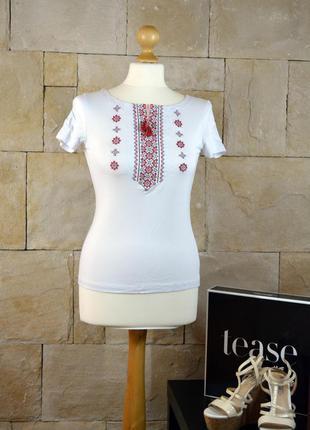 Акция 1+1=3 -футболка с машинной вышивкой вишиванка народная -размер s