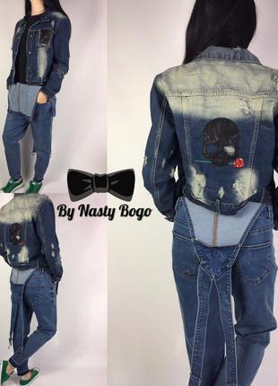 Джинсовый рваный пиджак fb sister