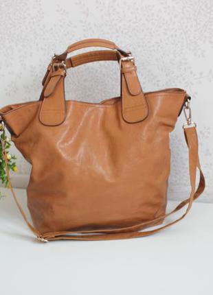 Новая рыжая сумка шопер, несколько вариантов носки, бренд warehouse