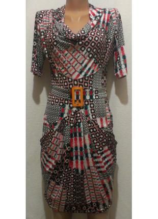 Цветастое платье с широкой горловиной cinema donna
