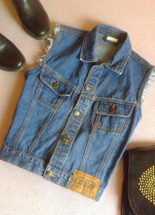 Винтажная джинсовая жилетка свободного кроя 100% коттон