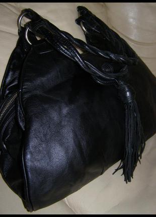 Стильная объемная кожаная сумка – натуральная кожа – m&s – китица