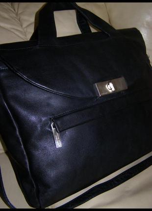 Vip большая кожаная сумка а4 - 100%  кожа теленка – люкс – renato angi