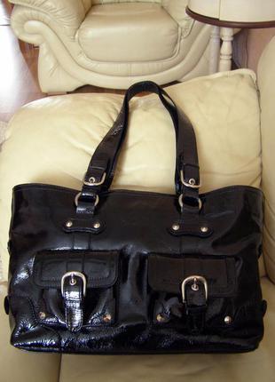 Vip роскошная большая кожаная сумка а4 -  100% натуральная лакированная кожа – мексика2