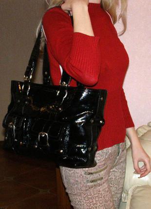 Vip роскошная большая кожаная сумка а4 -  100% натуральная лакированная кожа – мексика4