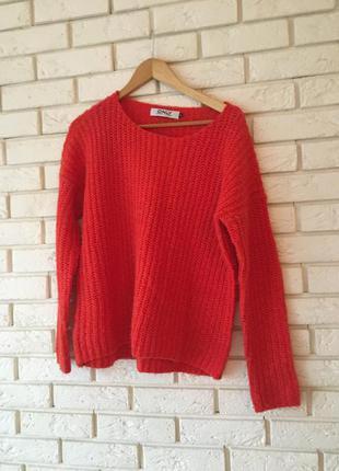 Женский красный свитер оверсайз, oversize, размер с-л1