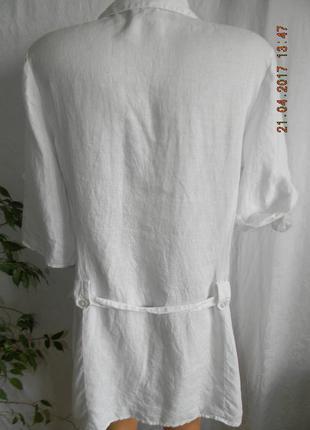 Белое платье-рубашка лен4