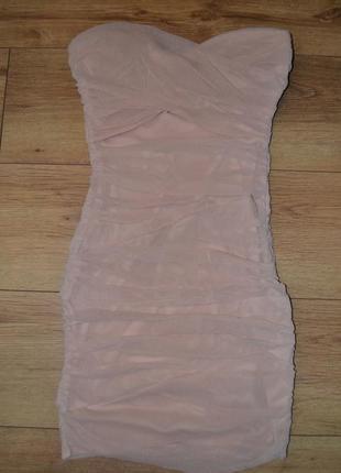 Шикарное платье пудровое новое бюстье