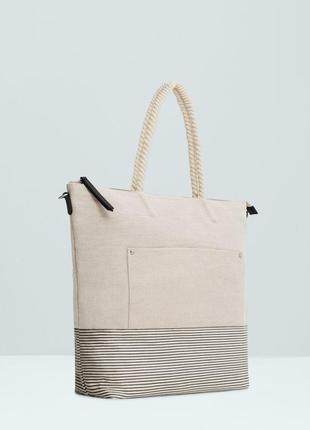 Полосатая сумка шоппер mango mikonos6 c лен+полотно+морские ручки