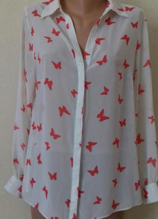 Шифоновая блуза с принтом бабочки