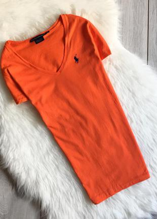 Оранжевая футболка от ralph lauren