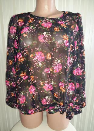 Яркая шифоновая блуза в цветы рр.м-л