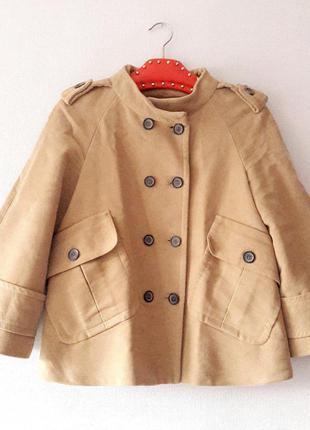 Весенний кейп короткое пальто двубортное бежевое размер xs s zara с карманами