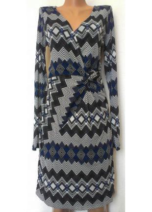Платье в ромб с v-образным вырезом на подкладке mexx