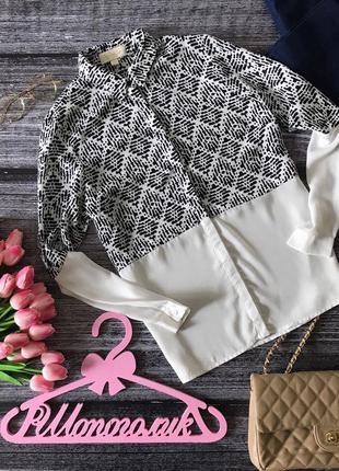 Оригинальная блуза-оверзсайз с контрастной принтованной вставкой    bl1624    goldie