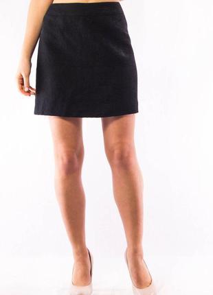 Юбка женская шерстяная черная с узорной текстурой karen millen (12) (l)