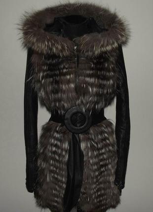 Кожаная куртка с чернобуркой трансформер + капюшон , на кролике