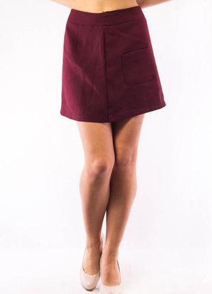 Юбка женская бордовая с карманами promod (s-m)