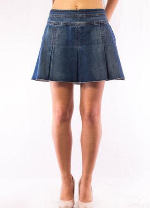 Юбка джинсовая женская с фалдами синяя benetton (44) (m)