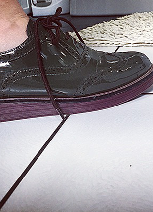 Кожаные оксфорды/ respect стильные криперы/ весенние ботинки цвет хаки/милитари обувь