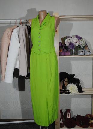 Скидка 30% на все вещи! интересный костюм травяного цвета wallis размер uk8 (s) юбка топ