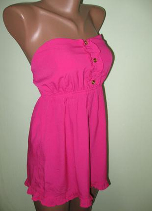 Весенняя распродажа!!! яркая туничка/миниплатье бюстье цвета фуксии от atmosphere