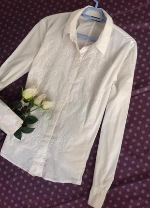 Белоснежная блуза рубашка с красивой вышивкой🌷🌷🌷