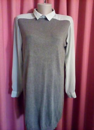 Платье-туника с шифоновыми рукавами