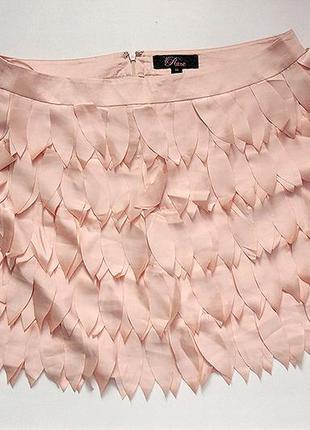 Обалденная мини юбка лепестки бежевая