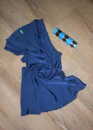 S/38*benetton*роскошная блуза майка туника  темно синяя 100% шелк новая