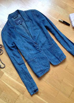 Джинсовый льняной пиджак куртка mexx