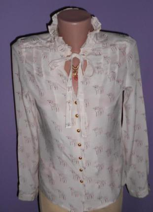 Шелковая блузочка в собачках 10 размера  hobbs