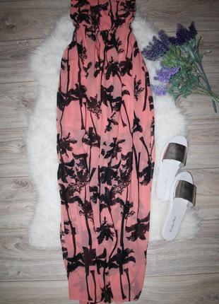 Шифоновое платье бюстье с разрезами