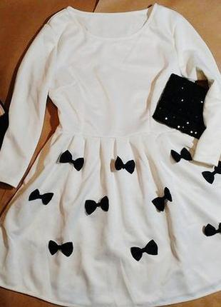 Милое платье с бантиками/коктейльное платье h&m///бесплатная доставка укр почтой